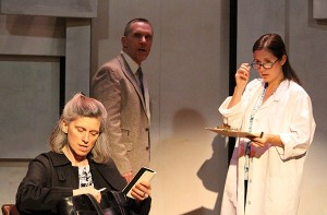 (From Left to Right) Emma Laurence (of Ossening, NY), Danny Charest (of Thornwood, NY), Anne Marie Goulding (of Grandview, NY), appear in 'The Other Place' at Elmwood Playhouse, Nyack, NY. Call 845 353-1313 for reservations. Photo by Omar Kozarsky.
